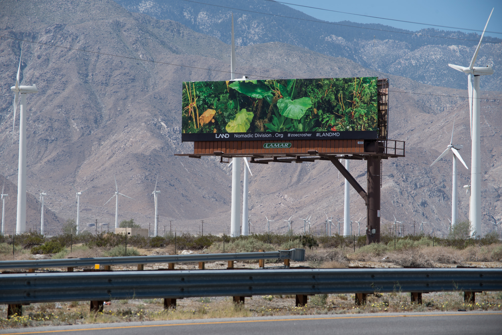 Zoe Crosher, The Manifest Destiny Billboard Project in Conjuction with LAND, Fourth Billboard to Be Seen Along Route 10, Heading West... (Where Highway 86 Intersects...), 2015 Courtesy: the artist.